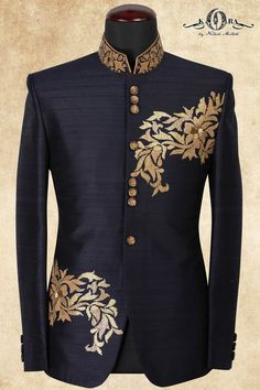 Navy Blue Raw Silk Sequins Embroidered Jodhpuri Suits-ST656