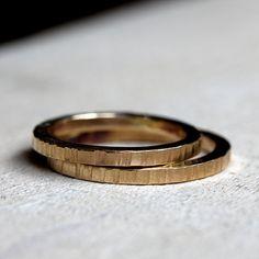 14k tree bark wedding ring set