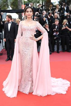 Sonam Kapoor in Elie Saab attends the 'The Meyerowitz Stories' screening during the 70th annual Cannes Film Festival at Palais des Festivals on May 21 2017 in...