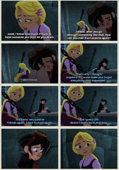we could be friends again, learn to trust again. But I guess, the world doesn't really work that way. Disney Rapunzel, Punk Disney Princesses, Tangled Rapunzel, Princess Disney, Disney Characters, Disney Songs, Disney Memes, Disney Art, Disney Love