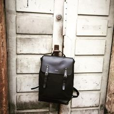 Backpack in cotton canvas and leather