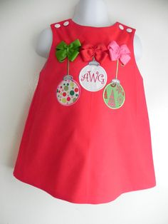 Applique Girly Christmas Ornament Aline Dress With Bows. $45.00, via Etsy.