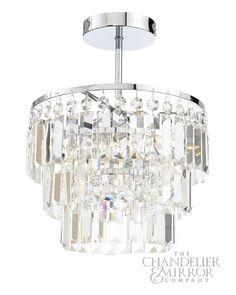 Delbin Contemporary Chrome Flush Fitting Bathroom Chandelier Light