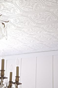 FRENCH COUNTRY COTTAGE: Details...A simple and sweet way to change the look of a ceiling is by using wallpaper.