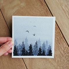 Your platform for buying and selling handmade items Payne's gray misty forest, original watercolor painting Order . Watercolor Cards, Watercolour Painting, Painting & Drawing, Easy Watercolor, Small Canvas Art, Mini Canvas Art, Forest Painting, Aesthetic Painting, Mini Paintings