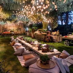 How cozy and beautiful is this outdoor dining space? We LOVE the hanging lights… How cozy and beautiful is this outdoor dining space? ❤️ We LOVE the hanging lights! 👀 Tag a friend who will love this design! Backyard Birthday, Outdoor Parties, Event Decor, Garden Design, Backdrops, Outdoor Decor, Outdoor Tree Lighting, Outdoor Living, Boho