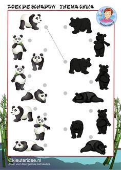 Zoek de schaduw van de panda, thema China, kleuteridee, free printable