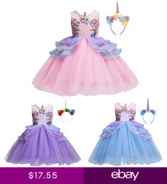Fancy Unicorn Cosplay Dress Costume for Kid Birthday Party Flower Girl  Dresses 248e968c7770