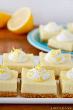 Easy Lemon Cheesecake Bars Just a Taste, Mini Lemon Cheesecakes Live Well Bake Often, Lemon Cheesecake Shugary Sweets Read More About Thi. Lemon Cheesecake Recipes, Lemon Desserts, Lemon Recipes, Easy Desserts, Delicious Desserts, Dessert Recipes, Summer Cheesecake, Cheesecake Squares, Kraft Foods