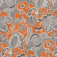 Yolanta Fabric Inspired by mosaics from a Byzantine palace, this captivating woven fabric features a tree of life design in black and off-white on a contrasting orange ground with diagonal line detailing.