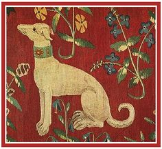 Exquisitely detailed companion dog in the tapestry series The Lady and the Unicorn.