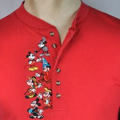 Mickey Mouse Magician Steamboat Sewn Mens M Henley Shirt Medium Disney Store  #DisneyStore