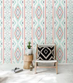 Ikat pattern self adhesive wallpaper, Geometric wall decals, Bohemian wall sticker, BW029