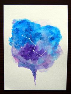 4x Zodiac Constellations in heart shape  The Big Dipper 6x8 Original Watercolor Space Cosmic by coracrow