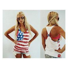 Sweet Summertimeeee / DIY spray painted 4th of july shirt... America!!! found on Polyvore