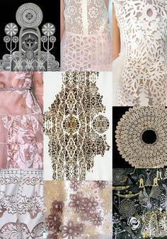 Inspiration for Spring / Summer 2013 - Prints inspired by Botanical hand drawn studies - Engineered Laser cut lace - Pigment printed florals - Delicate Color Patterns, Print Patterns, Textile Prints, Textiles, Laser Cut Fabric, 3d Laser, 2014 Trends, Lace Embroidery, Fabric Manipulation
