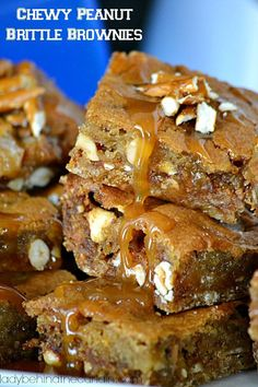 """Make a """"touchdown"""" with these Chewy Peanut Brittle Brownies! Full of so much flavor your game watches might get a """"holding"""" penalty for not sharing. #dessert #chocolate #recipes #food #foodie #ladybehindthecurtain"""