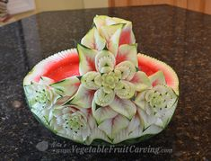 See fancy watermelon baskets and a simple star flower that you can carve as part of a watermelon bowl. Shown by Nita on Hallmark's Home and Family TV Show. Fruit And Veg, Fruits And Vegetables, Food Design, Home And Family Tv, Watermelon Basket, Fruit Sculptures, Food Carving, Watermelon Carving, Carving Designs