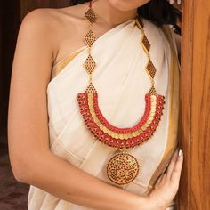Designer Contemporary Geometric Diagonal Motif Pendants Long Necklace Woman Style, Handmade Jewellery, Fabric Art, Wearable Art, Jewelry Design, Pendants, Indian, Jewels, Contemporary