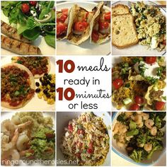 10 healthy meals in 10 minutes or less. Perfect for after homework, working, and catching up with your kids! health activities health care health ideas health tips healthy meals Lunch Recipes, Easy Dinner Recipes, Real Food Recipes, Cooking Recipes, Yummy Food, Freezer Cooking, Dinner Ideas, Healthy Cooking, Healthy Meals