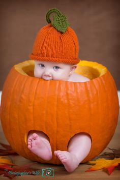 Baby in a Pumpkin! Perfect for a fall/Halloween photoshoot! Fall Baby Pictures, Newborn Pictures, Fall Baby Pics, Baby Pumpkin Pictures, Cute Kids, Cute Babies, Baby Kids, Babies Pics, Kid Pics