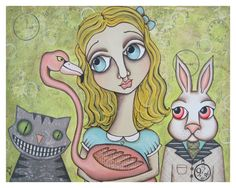 Alice and Friends PRINT of original mixed media by HipHeartStudio2