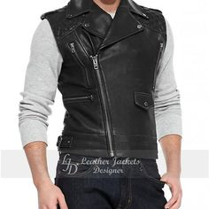 Leather Biker Vest, Leather Coats, Fashion Men, Fashion Trends, Sleeveless Jacket, Leather Accessories, Shop Now, Shoulder, Craft