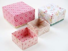 Learn how to make these quick and easy Origami Gift Boxes using scrapbook paper. Learn how to make these quick and easy Origami Gift Boxes using scrapbook paper. Diy Origami, Origami Gift Box, Origami Ball, Origami Paper, Oragami, Easy Origami Box, Origami Box With Lid, Origami Ideas, Ideias Diy