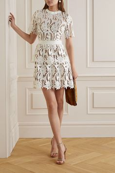 Self-Portrait Grosgrain-trimmed Guipure Lace Mini Dress - White , Casual Chique, Self Portrait Dress, Rehearsal Dinner Dresses, Bridal Fashion Week, Sequin Mini Dress, Tie Dress, Models, Lace Sleeves, Bridal Style