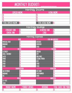 13 best budget form images on pinterest day planners budget