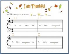 Love this piano composition worksheet for Thanksgiving that helps kids add the primary triads. It's free too!