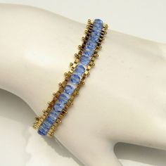 Vintage Channel Statement Bracelet Pretty Blue Crystal Glass Beads Goldtone #Unbranded #Chain