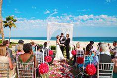 "Sarah & Kristina say ""I Do"" at Zoetry Casa Del Mar in Los Cabos!  #IDoAVDW #applevacations #destinationweddings #beachwedding #cabo #mexico #lgbtwedding #love #weddingflowers #photography #vacation #travel"