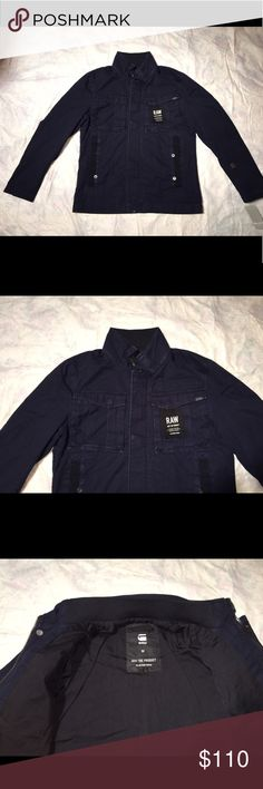 """New G-STAR RAW Military Rovic Jacket NWT Was$230 G-Star's modern, lean-fitting civilian jacket is crafted from durable washed cotton with military-inspired details including a bevy of utilitarian pockets. The covered snap placket conceals the zip closure for a handsome, uniform appearance. - 27 1/2"""" length (size Medium) - Front covered snap and zip closure - Chest hidden snap-flap pocket; front snap-welt pockets; on-sleeve snap-welt pocket - 100% cotton - Dry clean or machine wash cold, line…"""