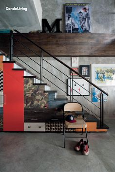 An Exclusive Tour of Mike Carandang's Eclectic-Industrial Loft by Space Encounters - CondoLiving Industrial Loft, Man Cave, Stairs, The Unit, Space, Interior, Home Decor, Floor Space, Stairway