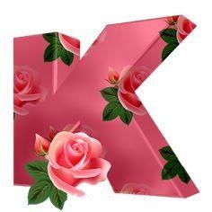 Letter K Design, Letter Photography, Floral Rosa, Mosaic Flower Pots, Fancy Letters, Rosa Rose, Monogram Alphabet, Sewing Material, Climbing Roses