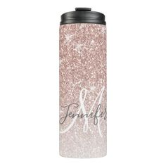 Girly Rose Gold Glitter Blush Monogram Name Thermal Tumbler - typography gifts unique custom diy Diy Tumblers, Custom Tumblers, Glitter Tumblers, Personalized Tumblers, Personalized Items, Kids Tumbler, Tumbler Cups, Glitter Cups, Rose Gold Glitter