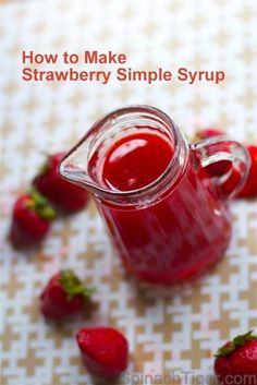 Make strawberry simple syrup for cocktails with fresh or frozen strawberries. Versatile syrup can be used for drinks, mocktails, cakes, fruit recipes. Links to strawberry sauce and strawberry martini cocktail. Strawberry Syrup Recipes, Strawberry Simple Syrup, Strawberry Martini, Strawberry Puree, Fruit Recipes, Strawberry Pancake Syrup, Simple Fruit Syrup Recipe, Raspberry Salad, Raspberry Syrup