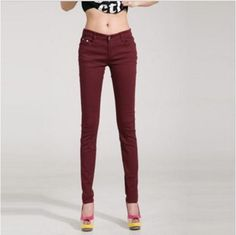 18 Colors Jeans 2016 New Sexy Women Pants Spring Summer Fashion Pencil Pant Lady Skinny Long Candy Color Plus Size Trousers Colored Skinny Jeans, Jeans Skinny, Skinny Waist, Trousers Women, Pants For Women, Jeans Women, Legging Jean, Lässigen Jeans, Jeans Leggings