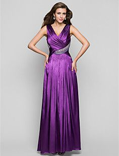 una línea de cuello en V vestido de fiesta palabra de longit... – USD $ 109.79