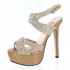 43cea6cb4461 Leather Peep-Toe platforms with rhinestones in Nude by Helen s Heart. The  Pageant Planet is proud to represent the Helen s Heart brand to provide you  with ...