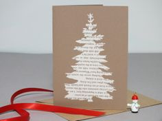 Papercut christmas card - christmas tree - cream & vintage brown £2.50