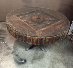 """FILCA industrial 46"""" 1880s mill pulley coffee table unique rustic"""