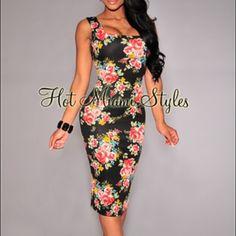 Hot Miami styles floral bodycon dress Worn 1ce Hot Miami Styles Dresses