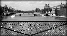 Love Locks Over The Seine Print by Carol Groenen