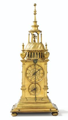"""Tower clock or turmchenuhr, quarter-bell, clock and automaton clock bearing the CP punch of Caspar Pfaff and the Augsburg pine cone, circa 1620  A RENAISSANCE GILT-METAL """"TURMCHENUHR"""" WITH ALARM AND AUTOMATON, CASPAR PFAFF, AUGSBURG, CIRCA 1620  Estimate  12,000 - 18,000  EUR   LOT SOLD.  EUR 19,375"""