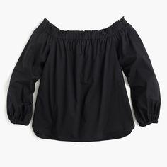 J.Crew - Long-sleeve off-the-shoulder top in cotton poplin