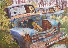 """""""All the Way in a Chevrolet"""" Water color on Paper"""