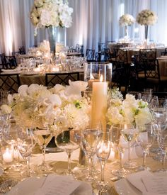 Alternate high and low centerpieces for a lush look.