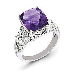 Sterling Silver Amethyst AAA Grade Heavy Dress Ring Sizes J K L1//2 N O P S T